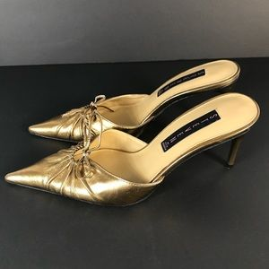 Steven gold heels mules leather